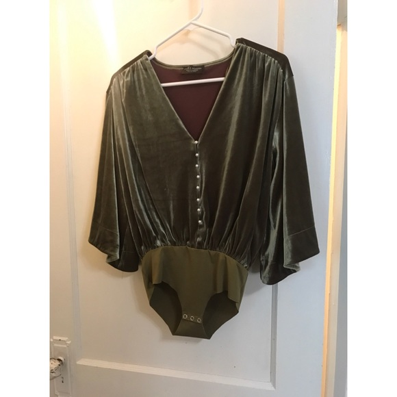 Zara Tops - Zara Velvet Bodysuit with Kimono Sleeves